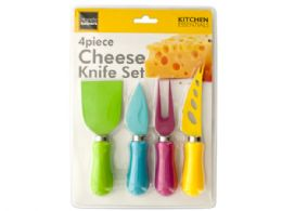12 Units of Easy Grip Multi-Colored Cheese Knife Set - Kitchen Utensils