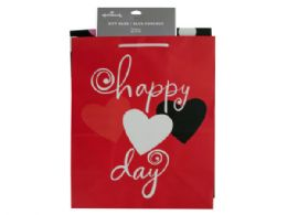 36 Units of Medium Hearts & Dots Valentine Gift Bag Set - Gift Bags