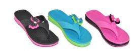 36 Units of GIRLS ASSORTED COLOR FLIP FLOPS WITH BUTTERFLY - Girls Flip Flops