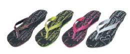 36 Units of Girls Assorted Color Flip Flops Love Fashion - Girls Flip Flops