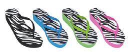 36 Units of Girl's Assorted Color Flip Flops Zebra - Girls Flip Flops