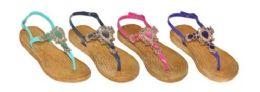 36 Units of Girls Assorted Color Flip Flops With Rhinestones - Girls Flip Flops