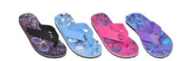 36 Units of WOMENS ASSORTED COLOR FLIP FLOPS BUTTERFLY - Women's Flip Flops