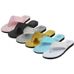 36 Units of Women's Sequin Upper Metallic Flip Flops - Women's Flip Flops