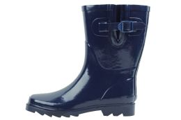 12 Units of Ladies' Rubber Rain Boots (9 Inches Tall) In Navy - Women's Boots
