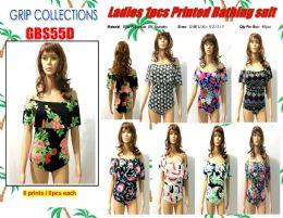 48 Units of Ladies 1 Piece Printed Bathing Suit - Womens Swimwear