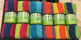 24 Units of Cabana Stripe Rolled Beach Towel 100% Cotton - Beach Towels