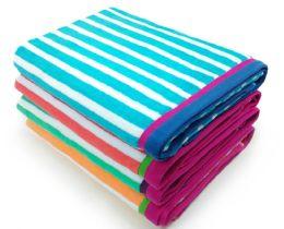 24 Units of Bk Racing Stripe Cabana Case Pack - Beach Towels