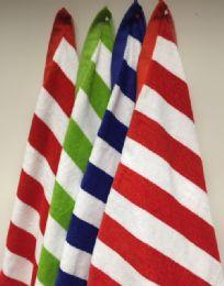 12 Units of Cabana Stripe Beach Towel 100 Percent Cotton 4 Color Assortment - Beach Towels