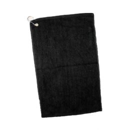 144 Units of Velour Hemmed Hand / Golf Towel Corner Grommeted And Hook In Black - Towels