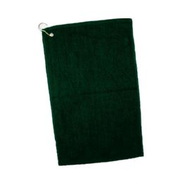 144 Units of Velour Hemmed Hand / Golf Towel Corner Grommeted And Hook In Forest Green - Towels