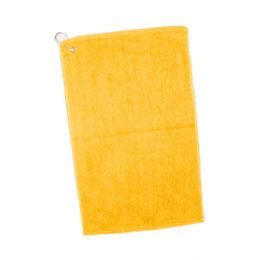 144 Units of Velour Hemmed Hand / Golf Towel Corner Grommeted And Hook In Gold - Towels