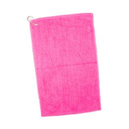 144 Units of Velour Hemmed Hand / Golf Towel Corner Grommeted And Hook In Hot Pink - Towels
