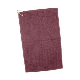 144 Units of Velour Hemmed Hand / Golf Towel Corner grommeted and hook In Maroon - Towels