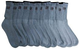 12 Pairs of Men's USA Gray Color Athletic Crew Socks, Mens Womens, Sock Size 10-13