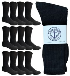 12 Units of Yacht & Smith Men's King Size Premium Cotton Crew Socks Black Size 13-16 - Big And Tall Mens Crew Socks
