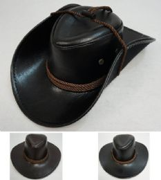 36 Units of Shiny Leather-Like Cowboy Hat - Cowboy & Boonie Hat