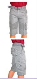 12 Units of MEN'S FASHION CARGO SHORTS MOTTO DESIGN IN GREY - Mens Shorts