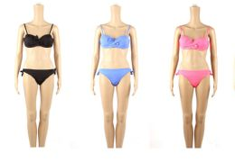48 Units of Womans Assorted Solid Color With Bow 2 piece Bathing Suit - Womens Swimwear