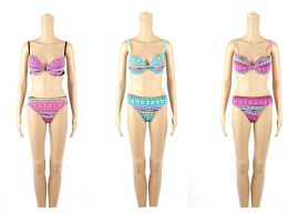 24 Units of Womans Assorted Printed With Bow 2 piece Bathing Suit - Womens Swimwear