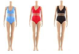 48 Units of Womans Assorted Solid Colors 1 Piece Bathing Suit - Womens Swimwear