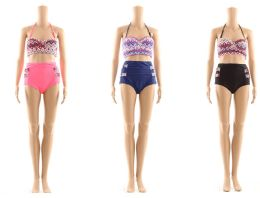 48 Units of Womans Assorted Tribal Printed Two Piece Bathing Suit - Womens Swimwear