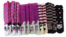 excell Womens Fuzzy Socks Crew Socks, Warm Butter Soft, 12 Pair Pack, Animal B, 9-11 - Womens Fuzzy Socks