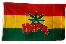 24 Units of Rasta Color Marijuana Leaf Flag - Flag