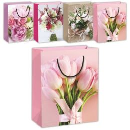 144 Units of Mothers Day Flower Gift Bag XLarge - Mothers Day