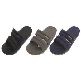 36 Units of Men's Solid Sport Slippers Sizes 8-13 - Men's Flip Flops and Sandals