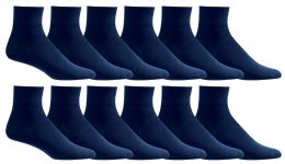 12 Units of Yacht & Smith Women's Diabetic Cotton Ankle Socks Soft NoN-Binding Comfort Socks Size 9-11 Navy - Womens Ankle Sock