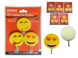 144 Units of 3 Piece Smiley Face Adhesive Hooks - Hooks