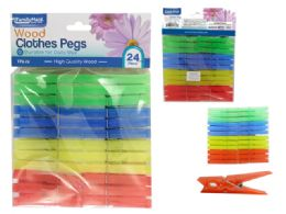 96 Units of 24 Piece Plastic Cloth Pegs - Clothes Pins