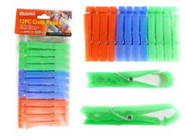 96 Units of 12 Piece Clothespins With Hanging Clip - Clothes Pins