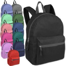 """24 Units of 15 Inch Basic Backpack - 12 Colors - Backpacks 15"""" or Less"""