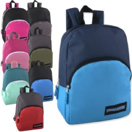 """24 Units of 15 Inch Promo Backpack - 8 Color Assortment - Backpacks 15"""" or Less"""