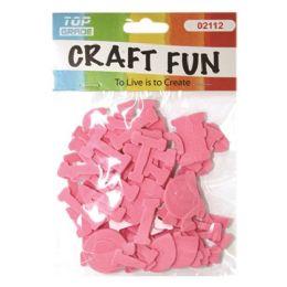 96 Units of Craft Fun Pink Letters - Foam & Felt