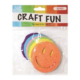 96 Units of Craft Fun Smiley Glitter Face - Foam & Felt