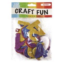 96 Units of Craft Fun Assorted Glitter Numbers - Foam & Felt