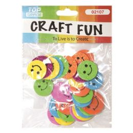96 Units of Craft Fun Assorted Glitter Smile Faces - Foam & Felt