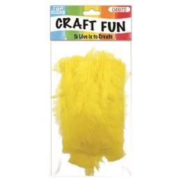 96 Units of Feather Yellow - Pom Poms and Feathers