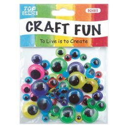 144 Units of Color Wiggle Eye Craft Assorted Cololrs - Craft Beads