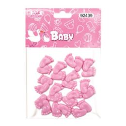 144 Units of Twelve Count Tiny Feet Baby Pink - Baby Shower