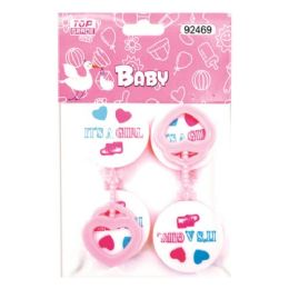 144 Units of Four Count Rattles Baby Pink - Baby Shower