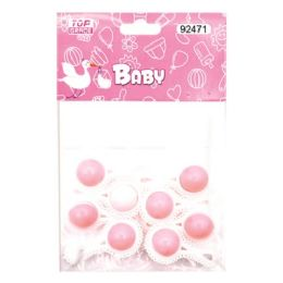 144 Units of Eight Count Rattles Baby Pink - Baby Shower