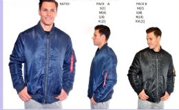 12 Units of Men's Fashion Flight Jacket In Blue - Mens Jackets