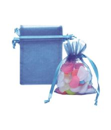144 Units of Organza Pouches Blue - Party Favors