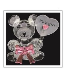 72 Units of Its A Girl Crystal Bear - Baby Shower