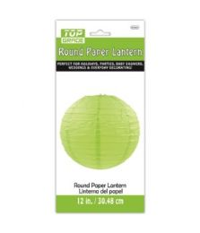 96 Units of Paper Lantern Twelve Inch Green - Party Center Pieces