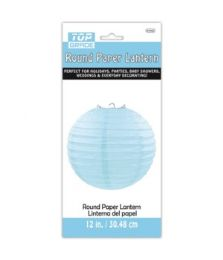 96 Units of Paper Lantern Twelve Inch Baby Blue - Party Center Pieces
